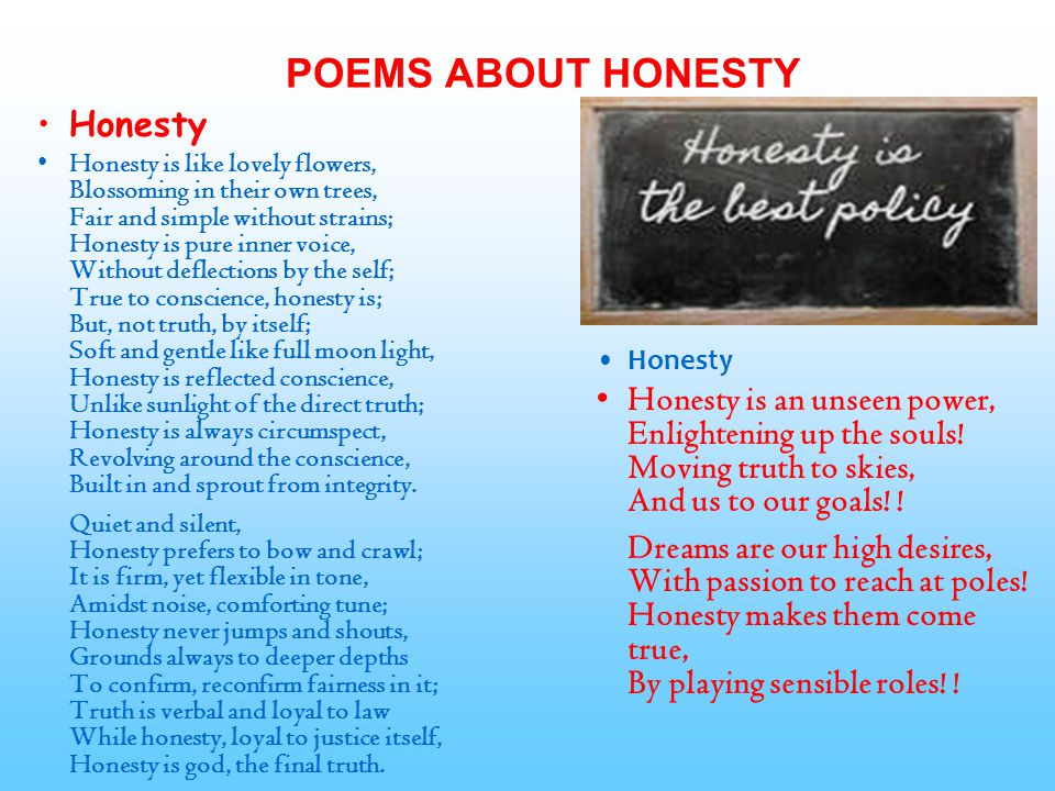 POEMS ABOUT HONESTY Honesty