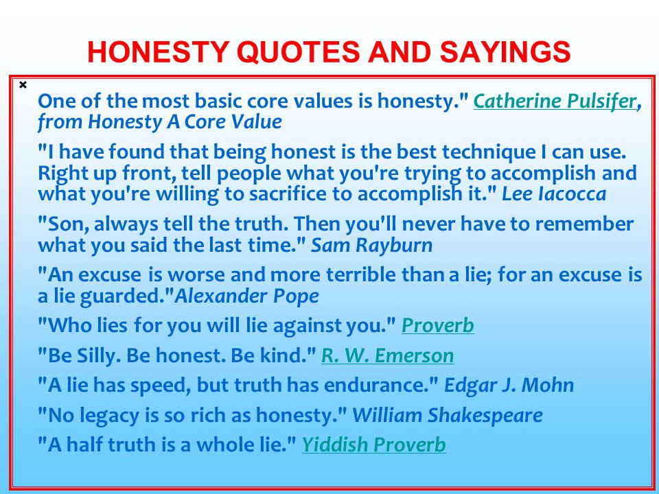 HONESTY QUOTES AND SAYINGS