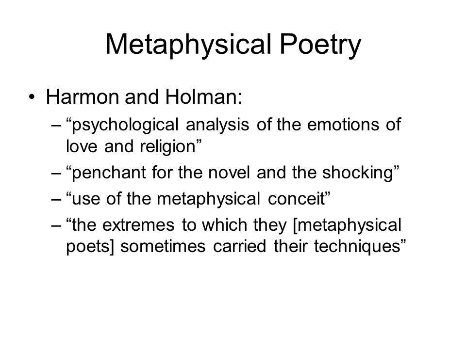 Metaphysical Poetry Harmon and Holman: