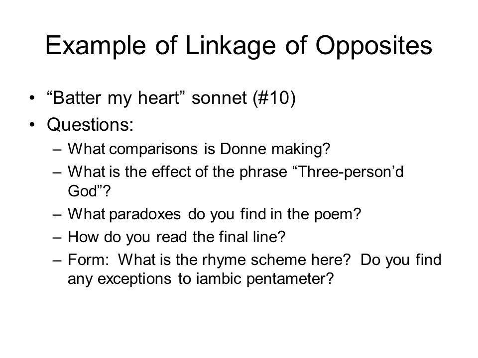 Example of Linkage of Opposites