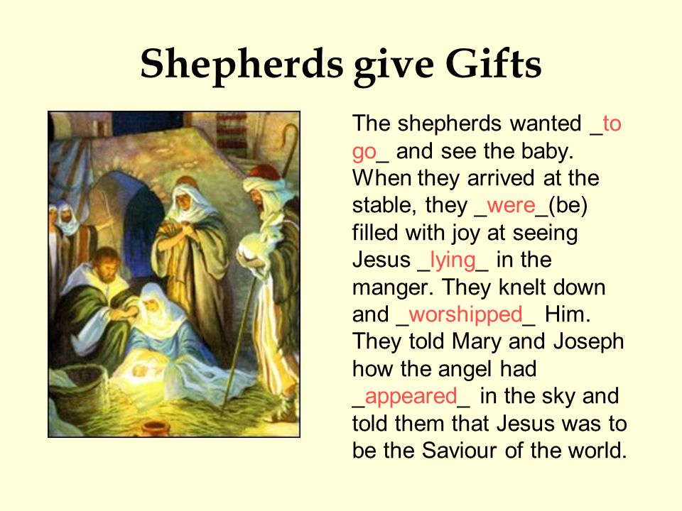 Shepherds give Gifts