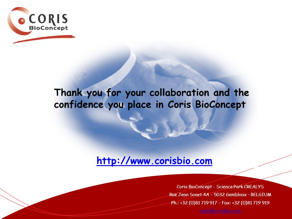 Thank you for your collaboration and the confidence you place in Coris BioConcept
