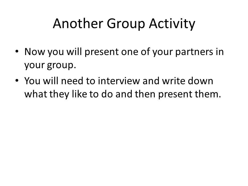 Another Group Activity