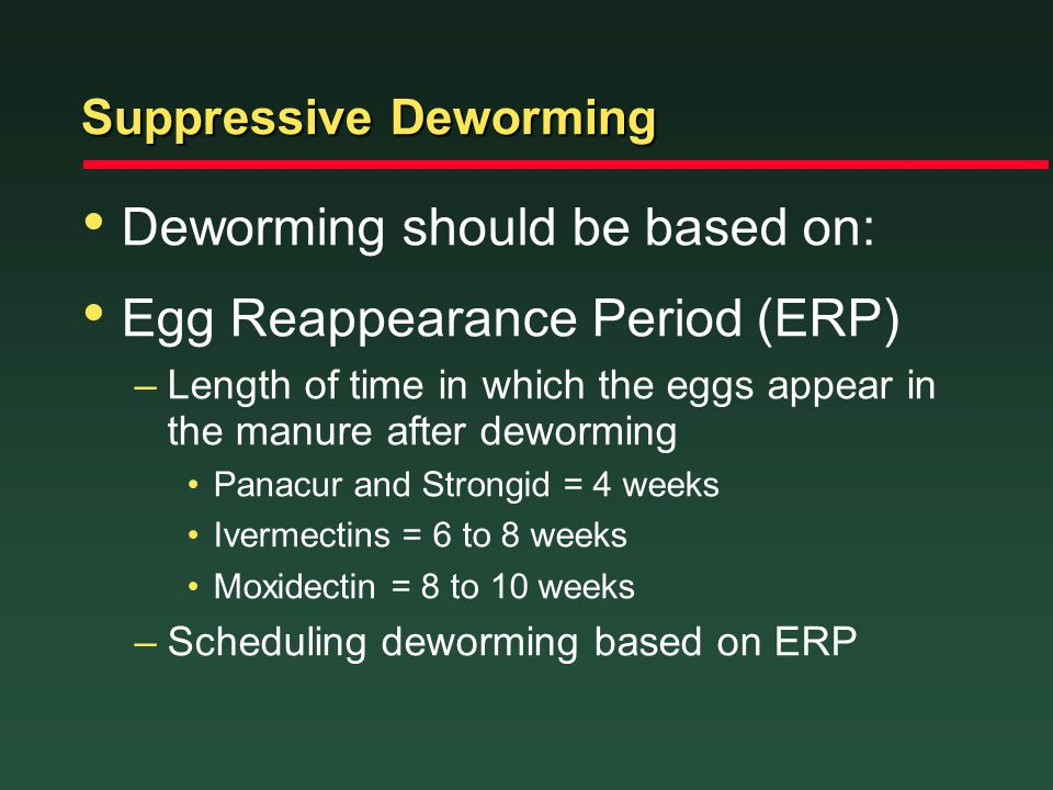 Suppressive Deworming