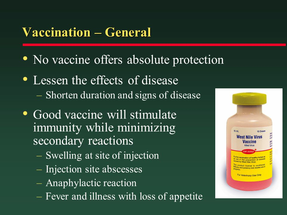 Vaccination – General No vaccine offers absolute protection