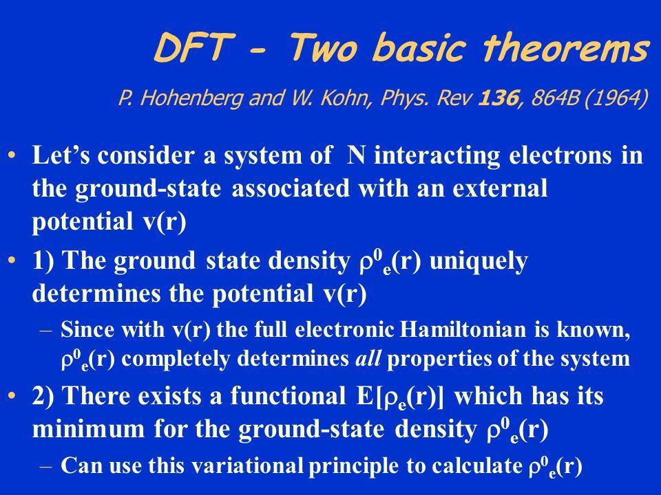 DFT - Two basic theorems P. Hohenberg and W. Kohn, Phys
