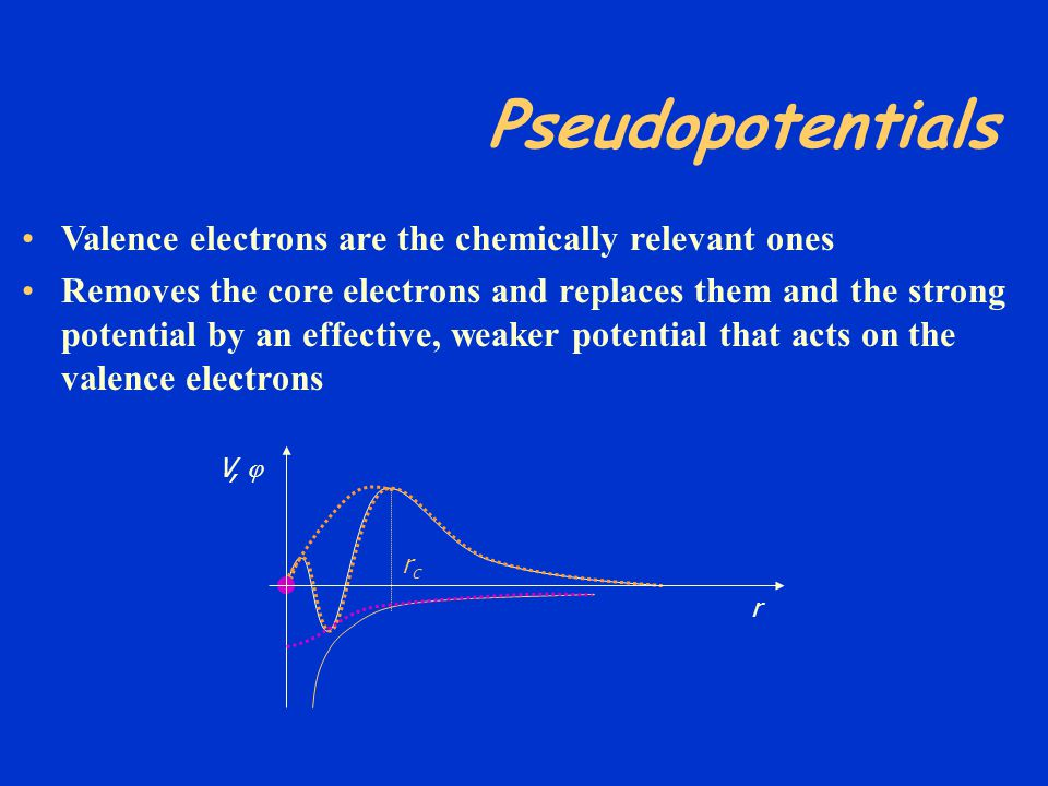 Pseudopotentials Valence electrons are the chemically relevant ones