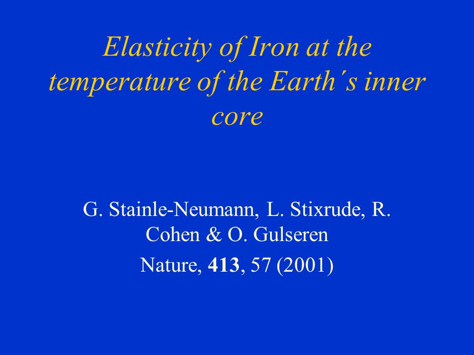 Elasticity of Iron at the temperature of the Earth´s inner core