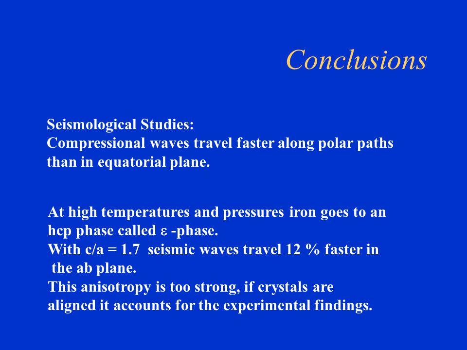 Conclusions Seismological Studies: