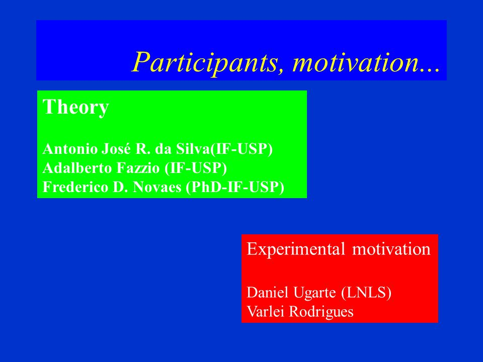 Participants, motivation...