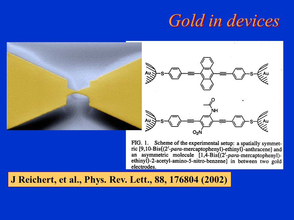 Gold in devices J Reichert, et al., Phys. Rev. Lett., 88, 176804 (2002)