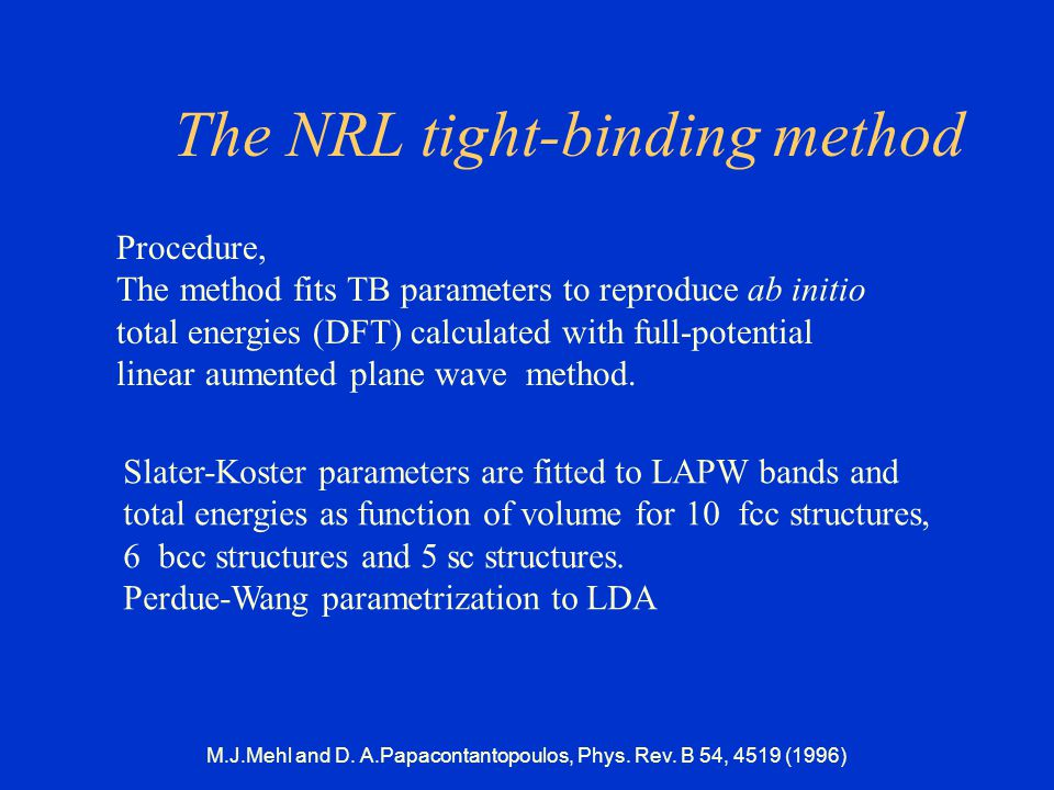 The NRL tight-binding method