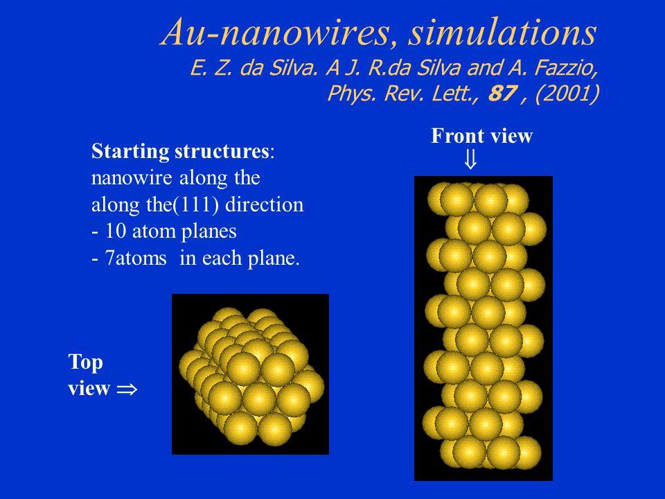 Au-nanowires, simulations E. Z. da Silva. A J. R. da Silva and A
