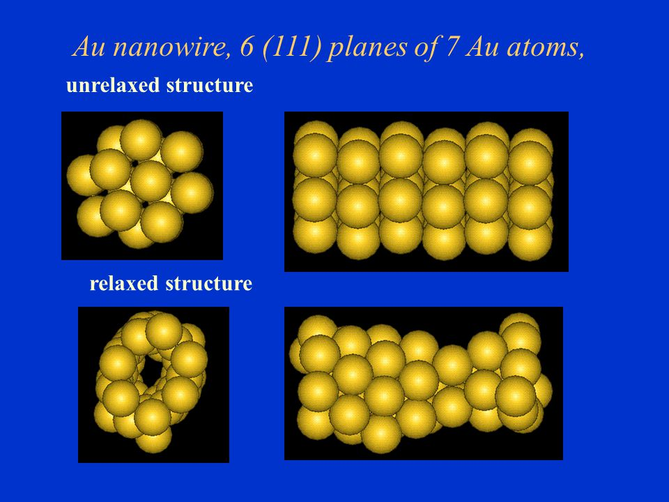 Au nanowire, 6 (111) planes of 7 Au atoms,
