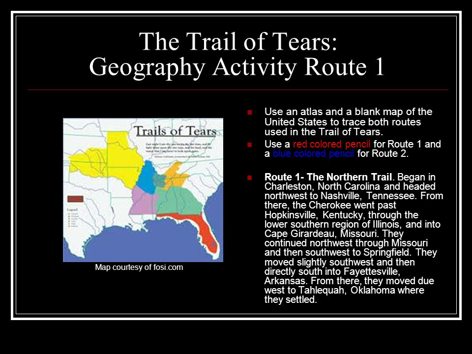 The Trail of Tears: Geography Activity Route 1