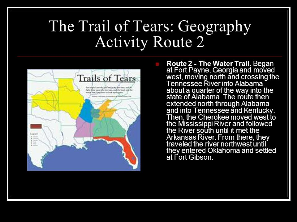 The Trail of Tears: Geography Activity Route 2
