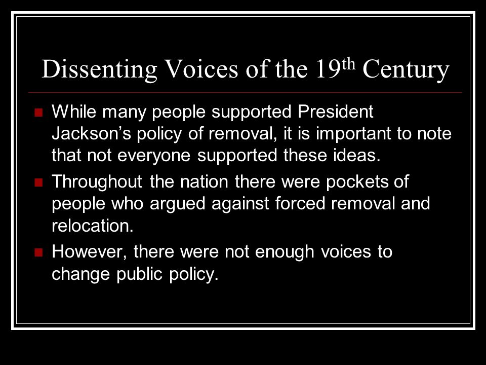 Dissenting Voices of the 19th Century