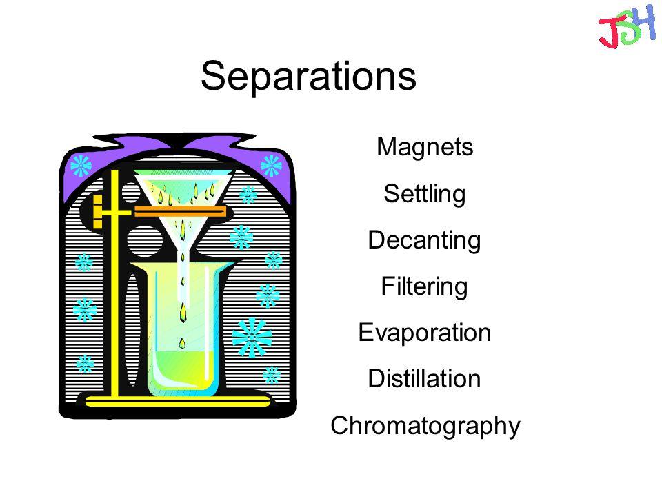 Separations Magnets Settling Decanting Filtering Evaporation