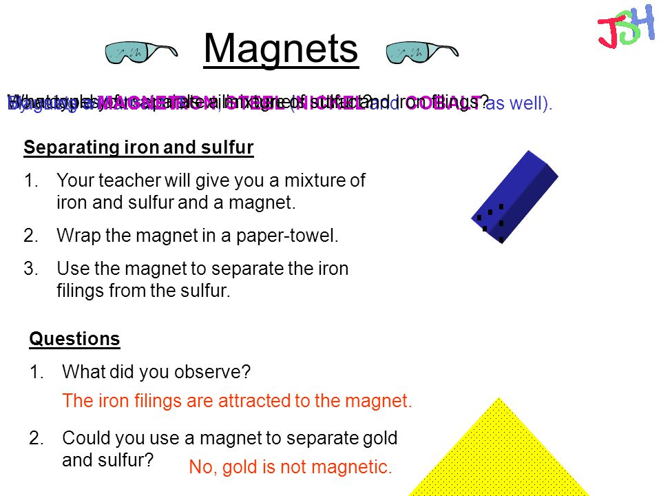 Magnets How could you separate a mixture of sulfur and iron filings