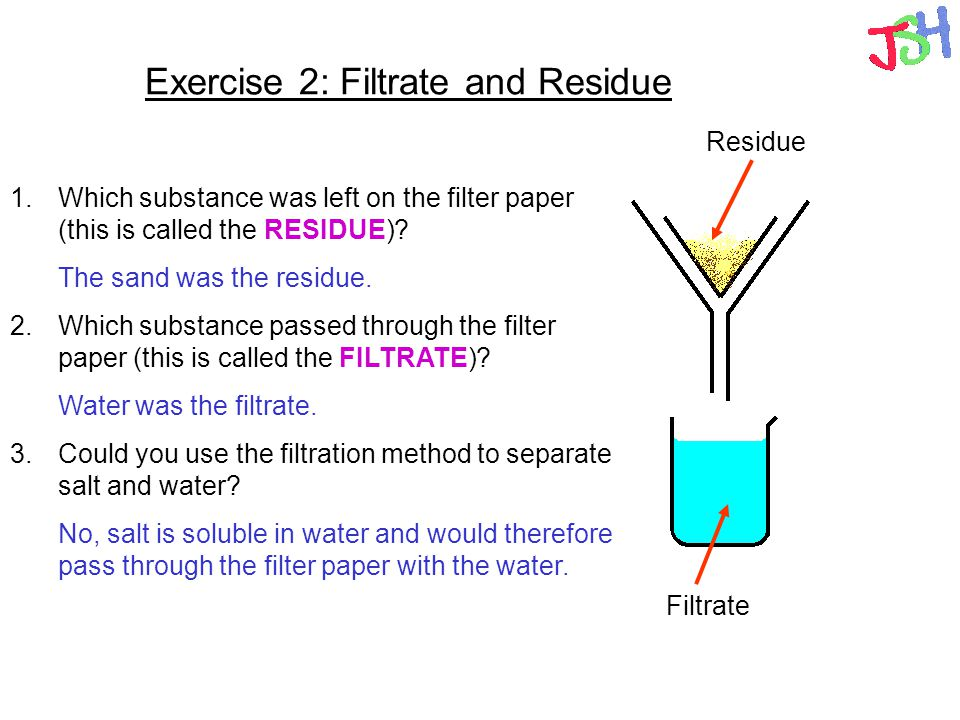 Exercise 2: Filtrate and Residue