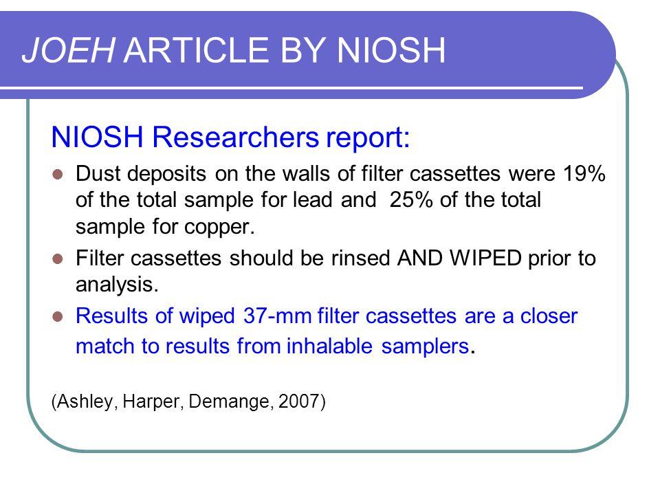 JOEH ARTICLE BY NIOSH NIOSH Researchers report: