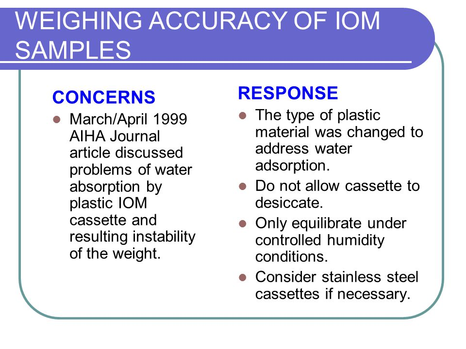 WEIGHING ACCURACY OF IOM SAMPLES