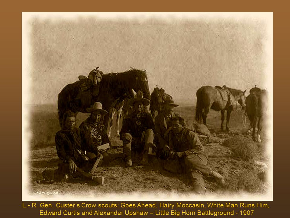 Curtis with Sioux chiefs on the Custer outlook at Little Big Horn Battleground – 1907