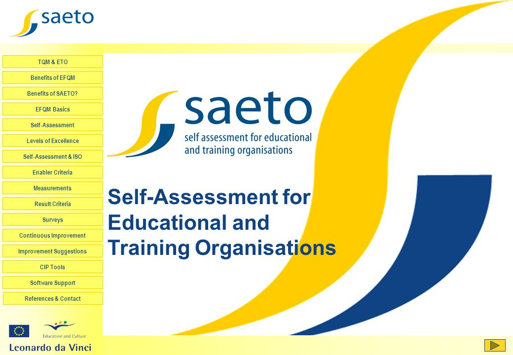 Self-Assessment for Educational and Training Organisations