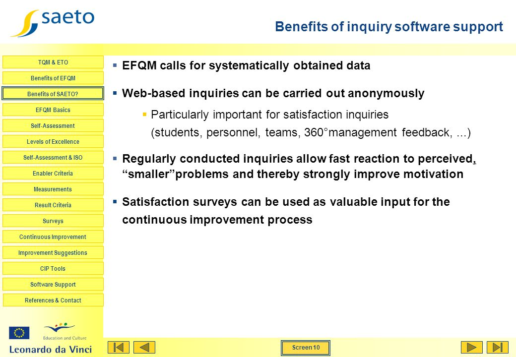 Benefits of inquiry software support