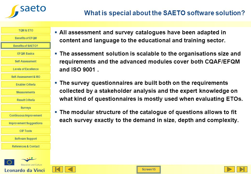 What is special about the SAETO software solution