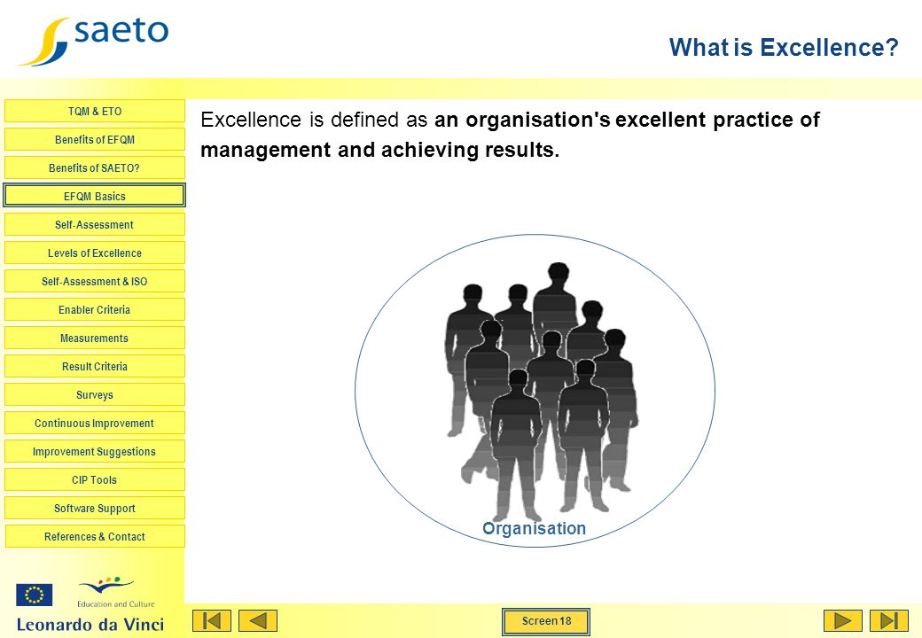 What is Excellence Excellence is defined as an organisation s excellent practice of management and achieving results.