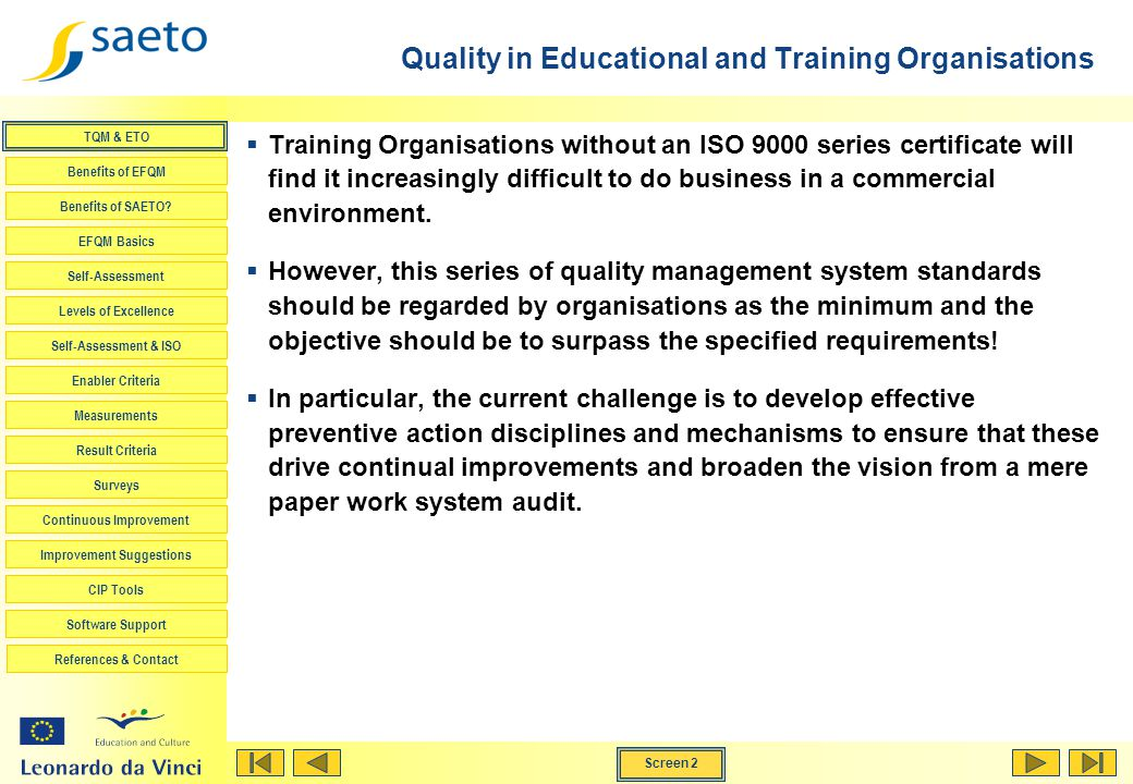Quality in Educational and Training Organisations
