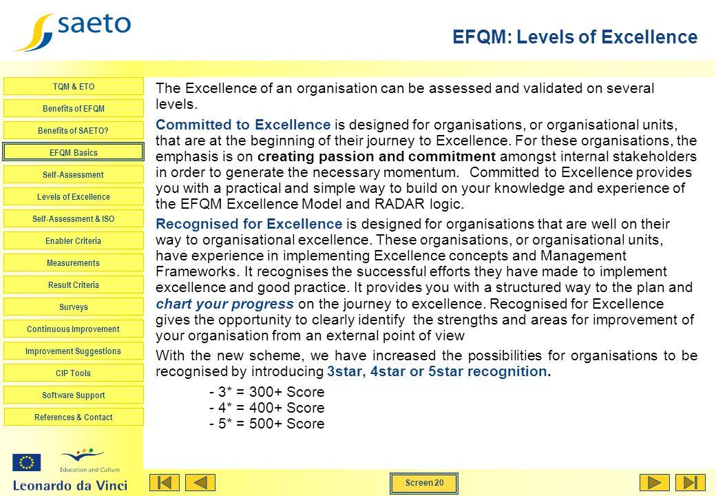 EFQM: Levels of Excellence