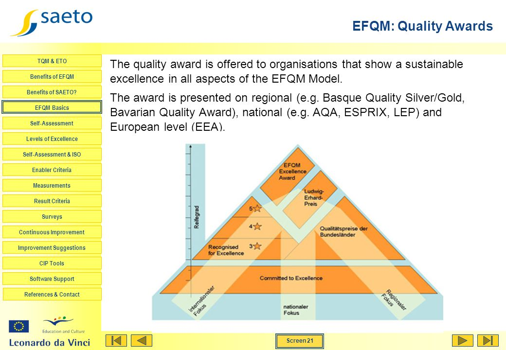 EFQM: Quality Awards The quality award is offered to organisations that show a sustainable excellence in all aspects of the EFQM Model.