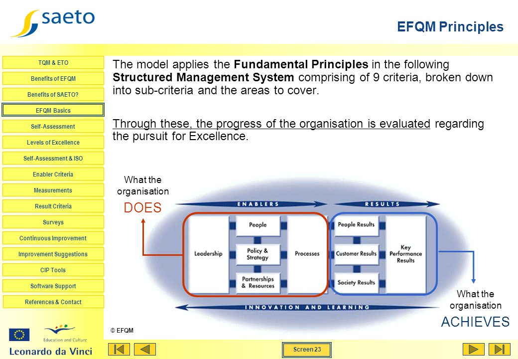 EFQM Principles DOES ACHIEVES