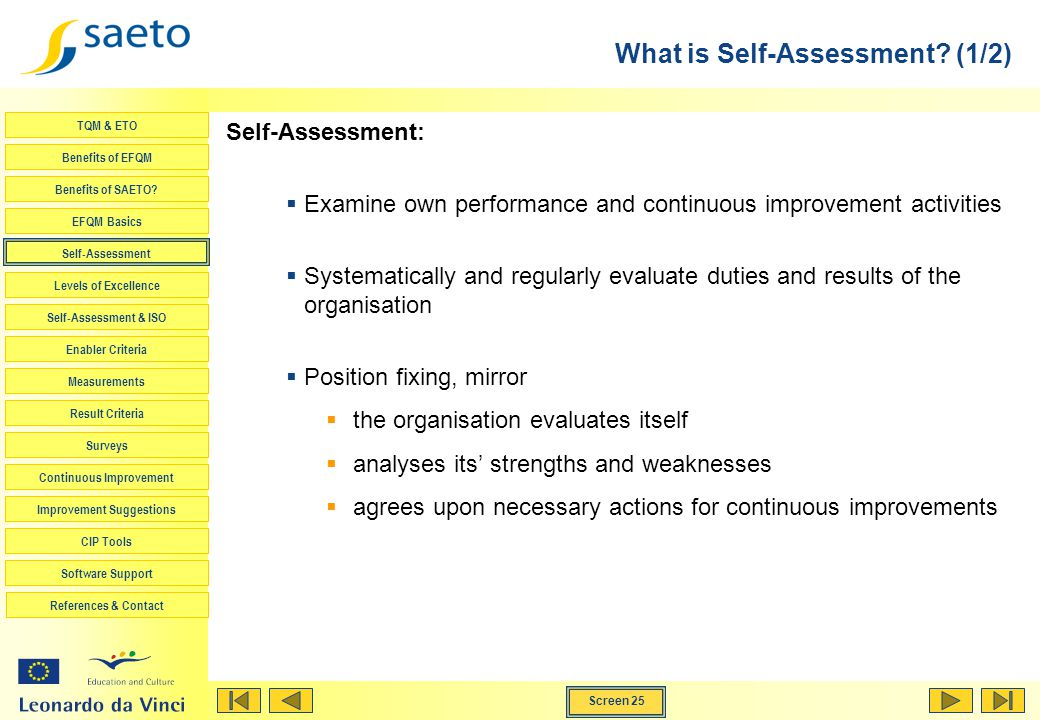 What is Self-Assessment (1/2)