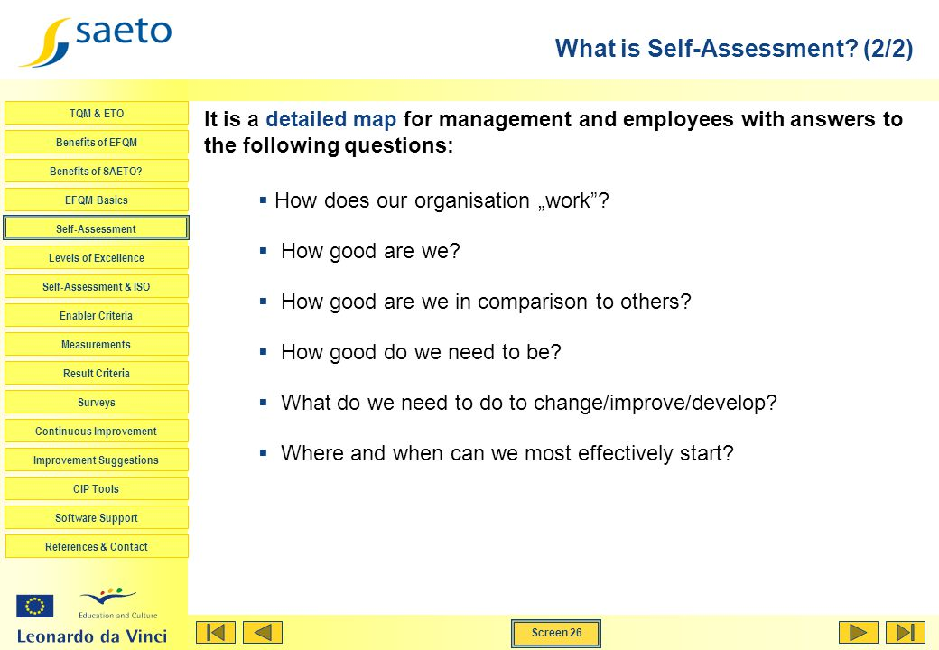 What is Self-Assessment (2/2)