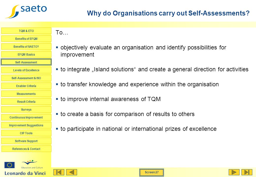 Why do Organisations carry out Self-Assessments