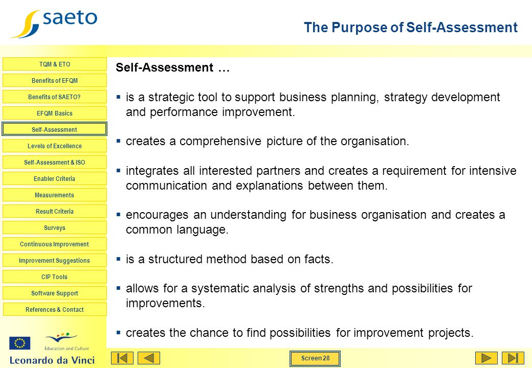 The Purpose of Self-Assessment