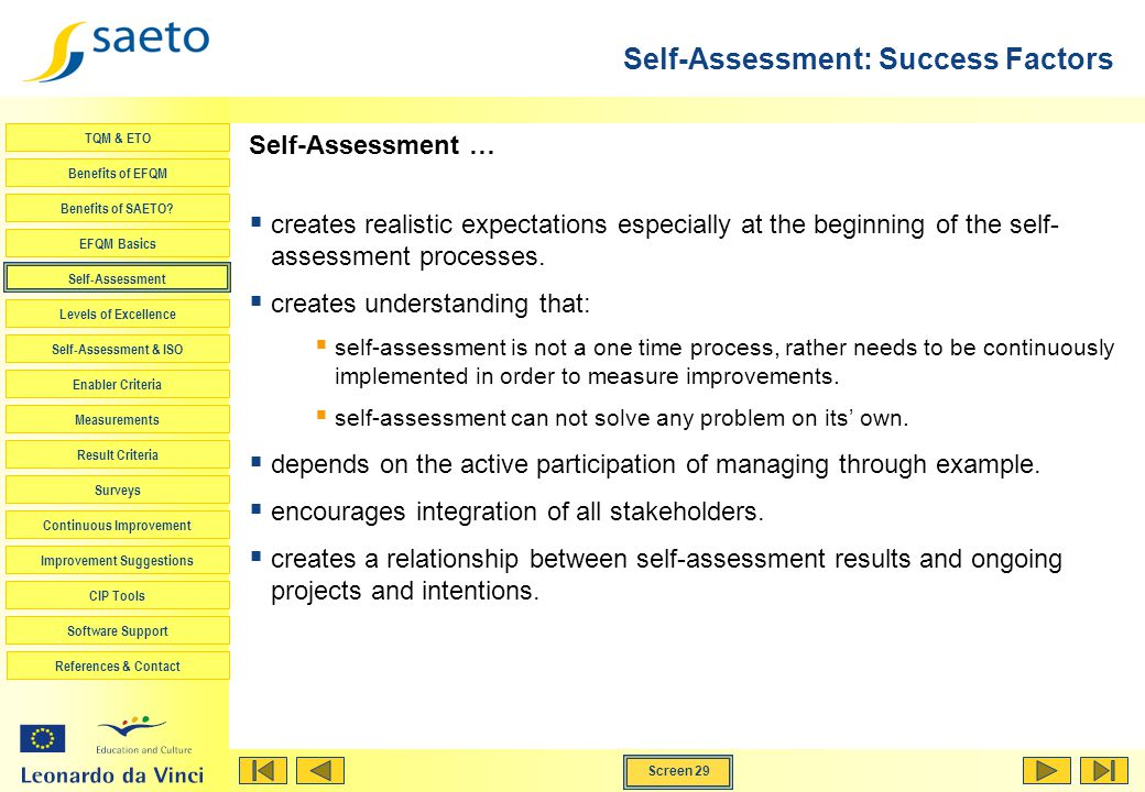 Self-Assessment: Success Factors
