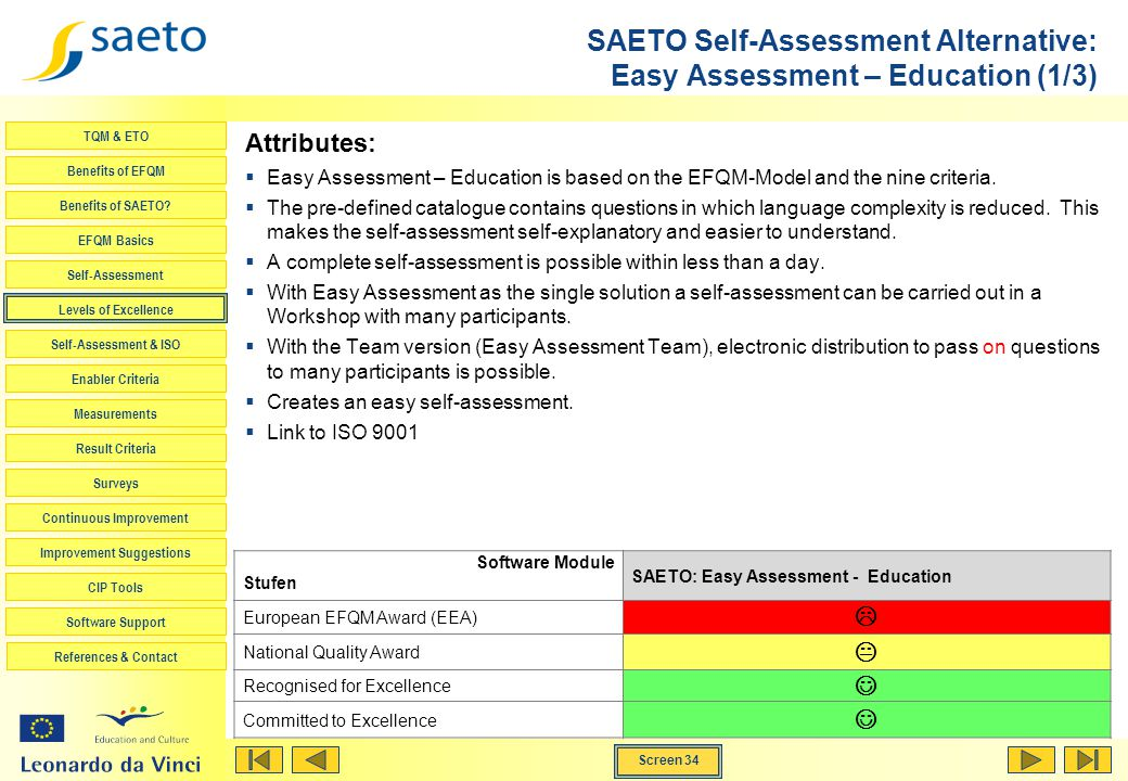 SAETO Self-Assessment Alternative: Easy Assessment – Education (1/3)