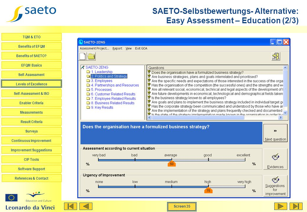 SAETO-Selbstbewertungs- Alternative: Easy Assessment – Education (2/3)