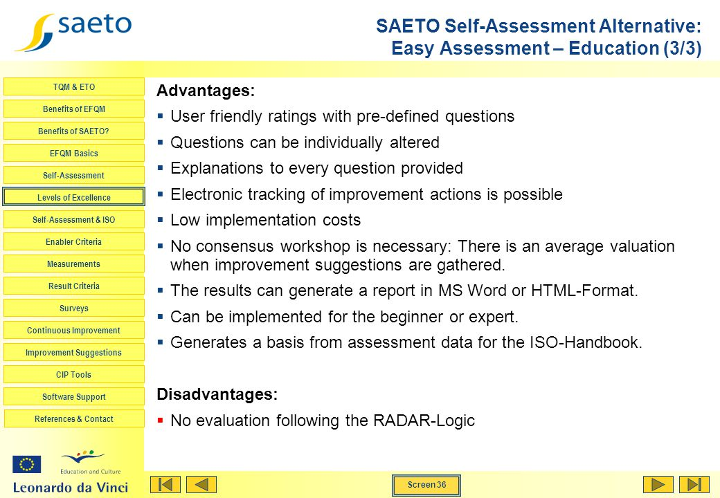 SAETO Self-Assessment Alternative: Easy Assessment – Education (3/3)