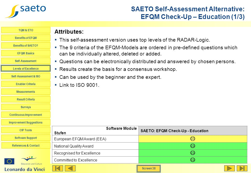 SAETO Self-Assessment Alternative: EFQM Check-Up – Education (1/3)
