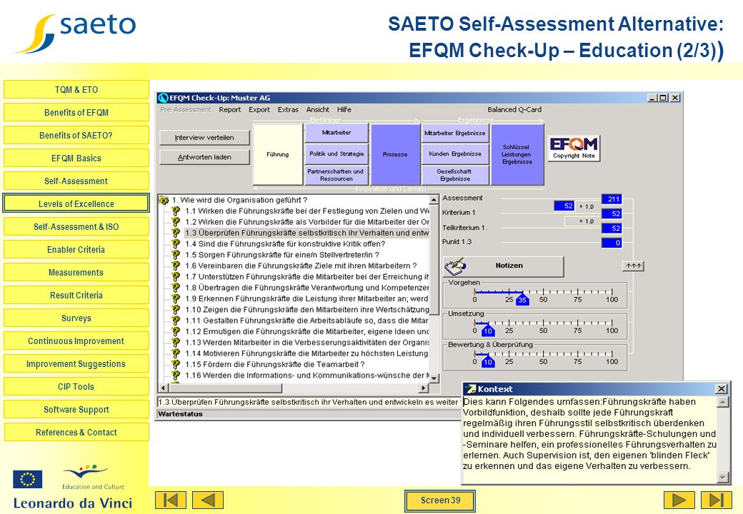 SAETO Self-Assessment Alternative: EFQM Check-Up – Education (2/3))