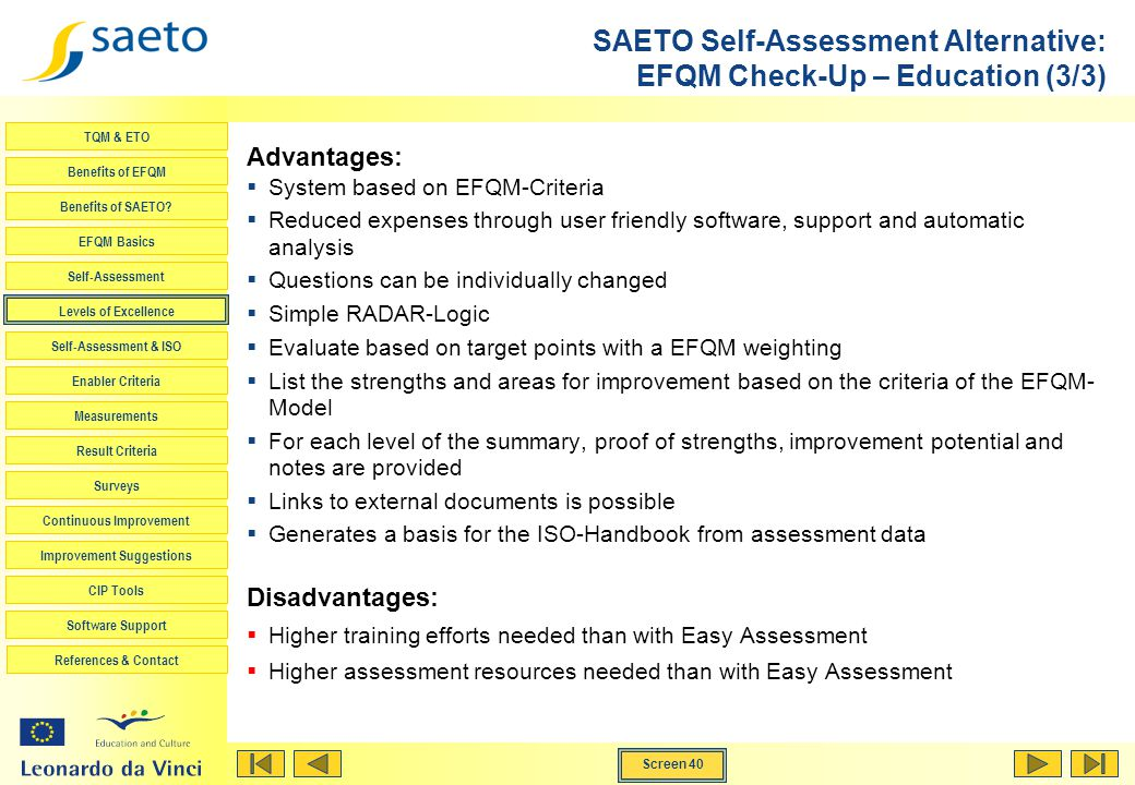 SAETO Self-Assessment Alternative: EFQM Check-Up – Education (3/3)