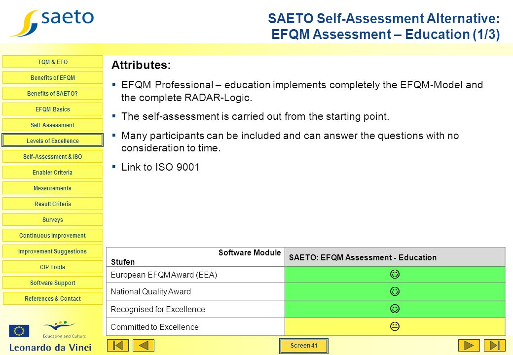 SAETO Self-Assessment Alternative: EFQM Assessment – Education (1/3)