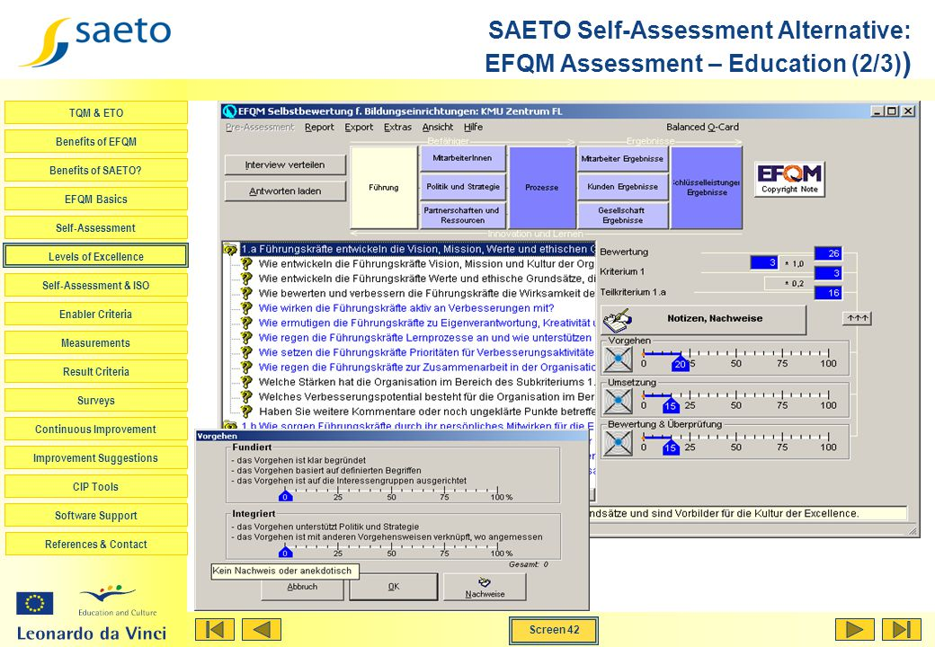 SAETO Self-Assessment Alternative: EFQM Assessment – Education (2/3))