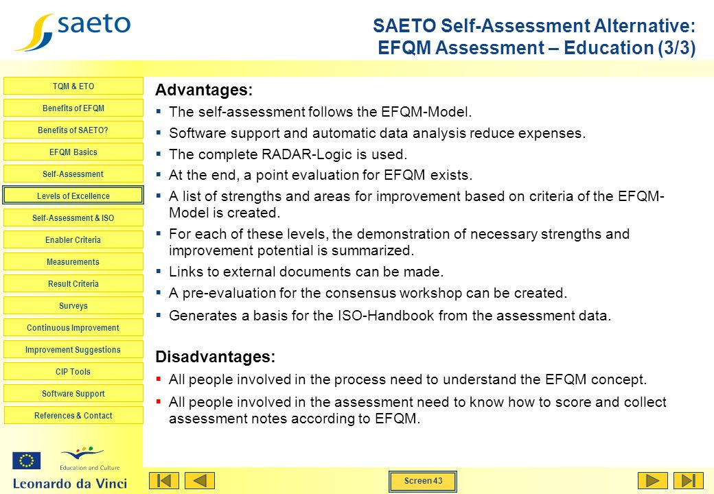 SAETO Self-Assessment Alternative: EFQM Assessment – Education (3/3)