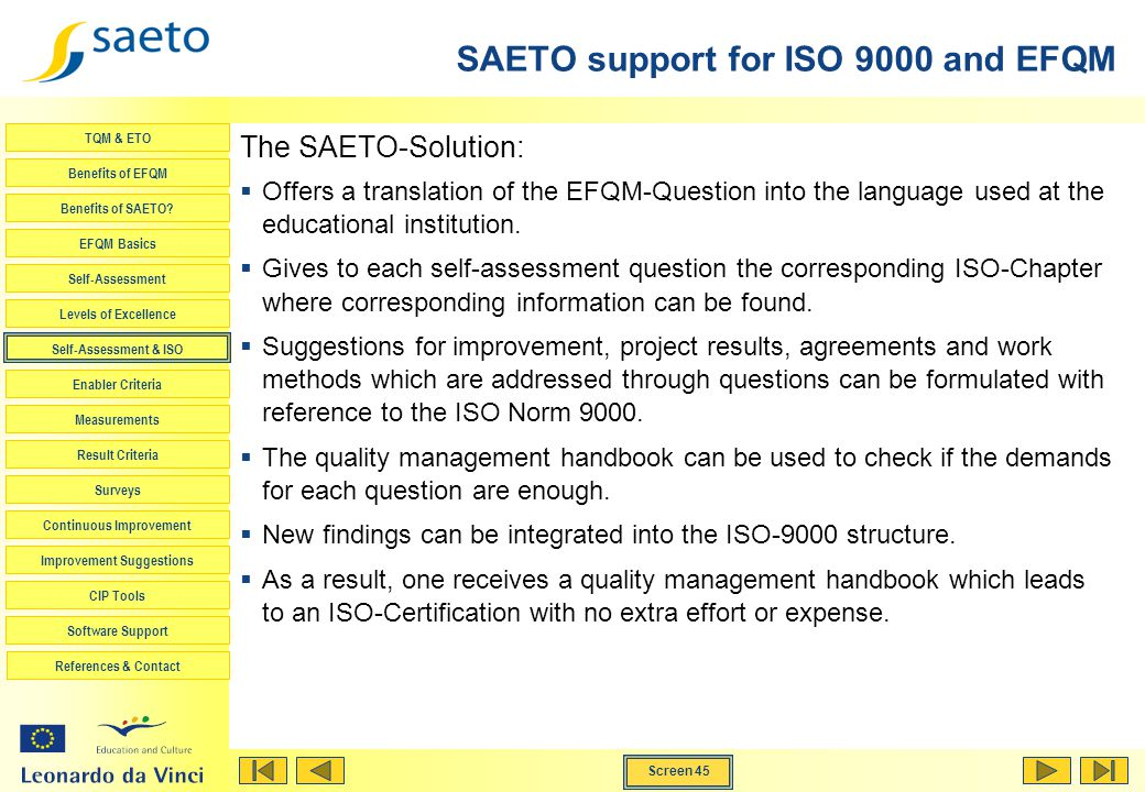 SAETO support for ISO 9000 and EFQM